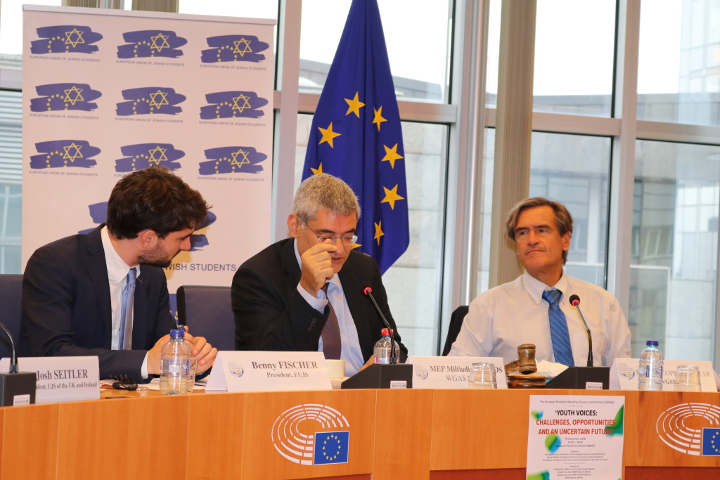 (left to right) Benjamin Fischer - President of EUJS, WGAS Member MEP Miltiadis Kyrkos (Greece) and WGAS Chair MEP Juan Fernando Lopez Aguilar (Spain)