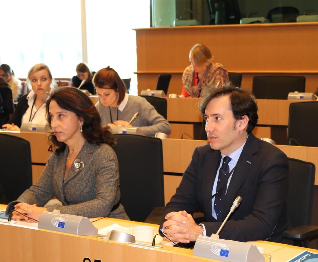 Raya Kalenova, EJC Executive Vice-President and Alvaro Garcia Navarro, Assistant to MEP Juan Fernando Lopez Aguilar