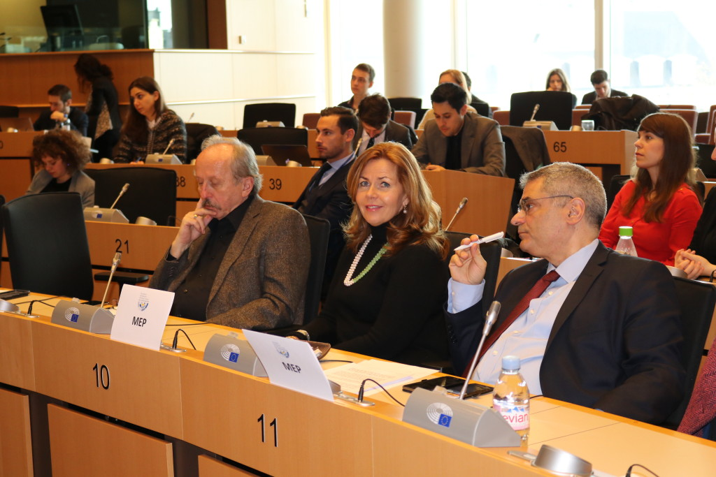 MEP Peter Niedermuller (S&D/Hungary), MEP Cecilia Wikström (ALDE/Sweden) and MEP Miltiadis Kyrkos (S&D/Greece)